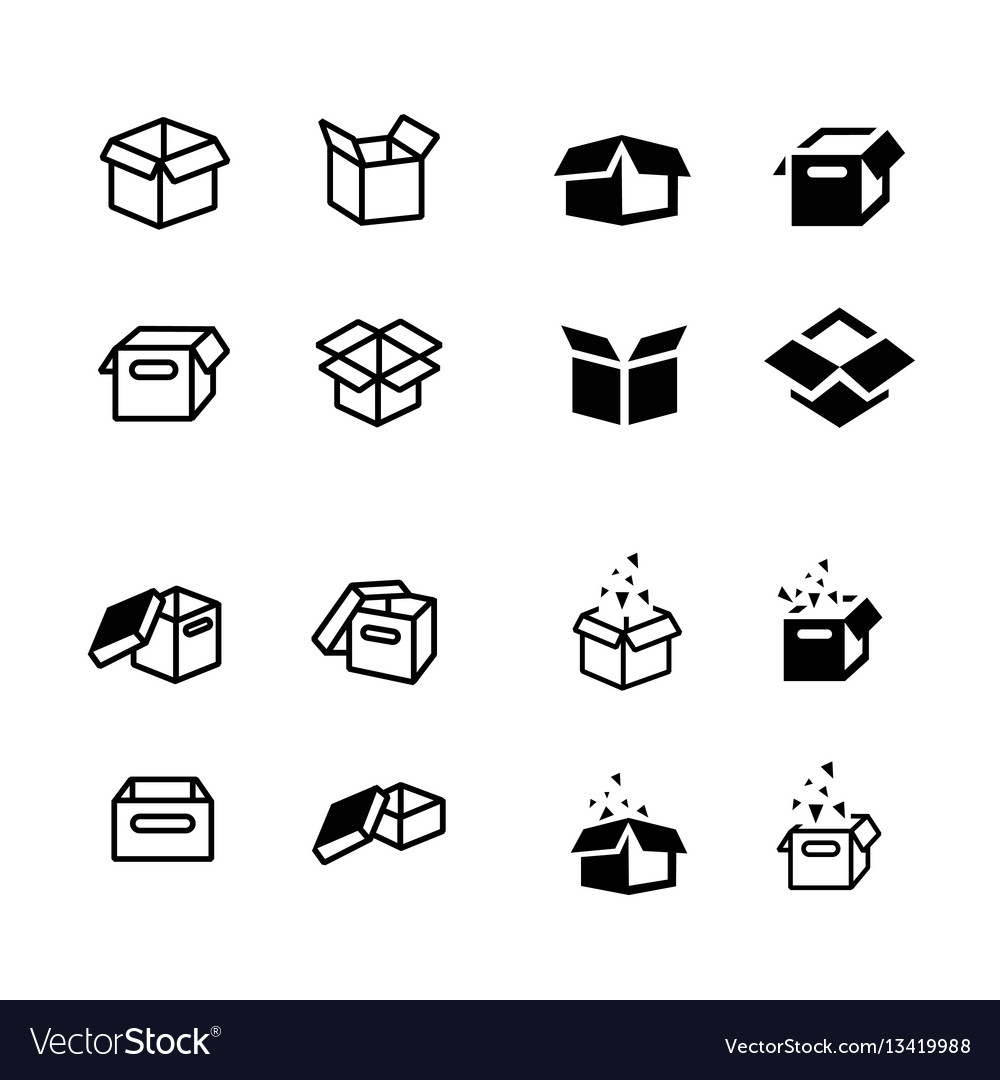 Set of parcel box open box icons set