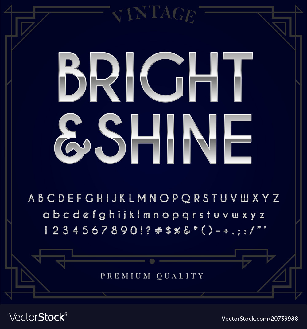Silver or chrome metallic font set letters