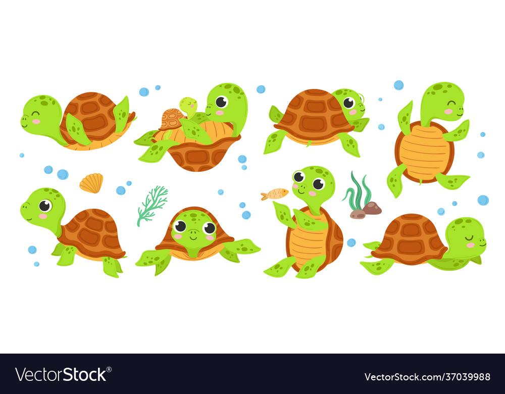 Turtle characters cartoon tortoise smile turtles