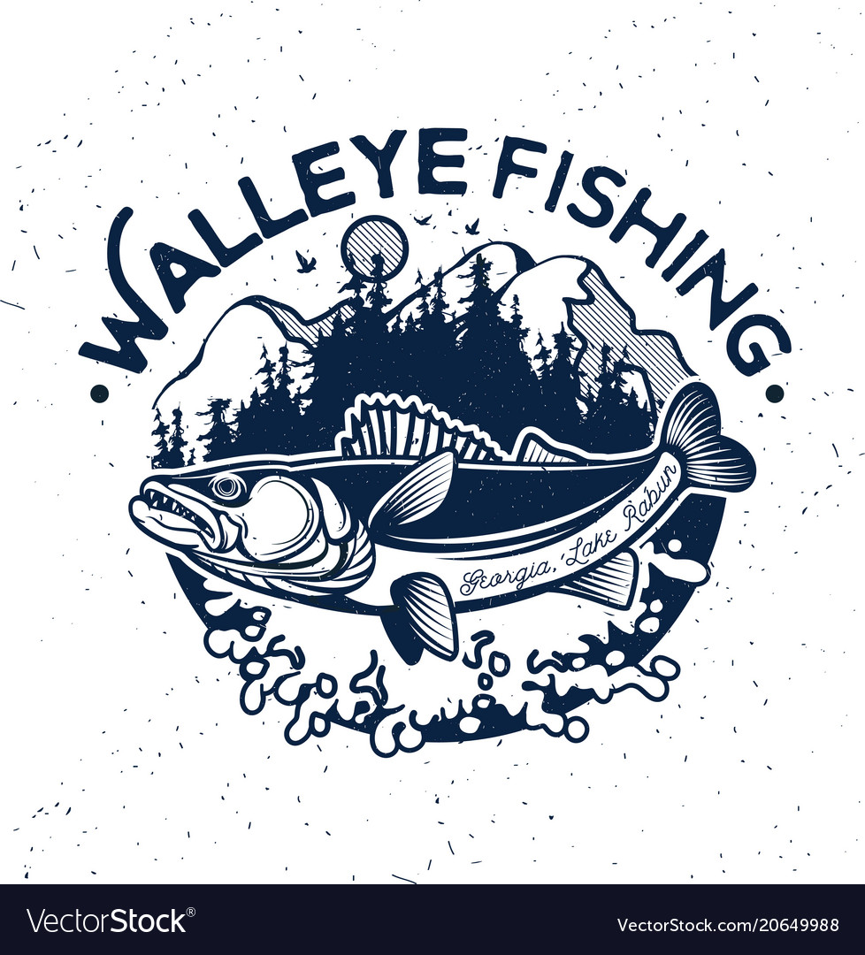 Vintage walleye fishing emblem and label