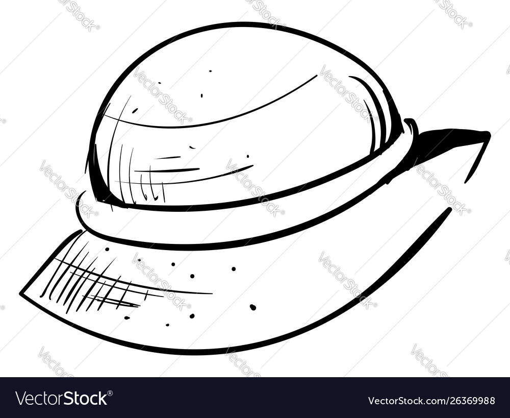 Woman hat drawing on white background