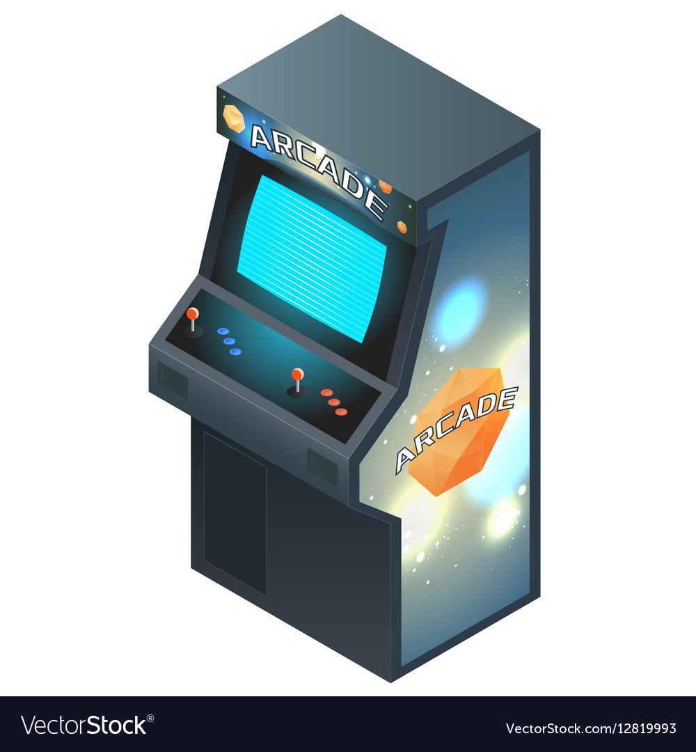 Arcade Game Cabinet with Glowing Screen Isometric