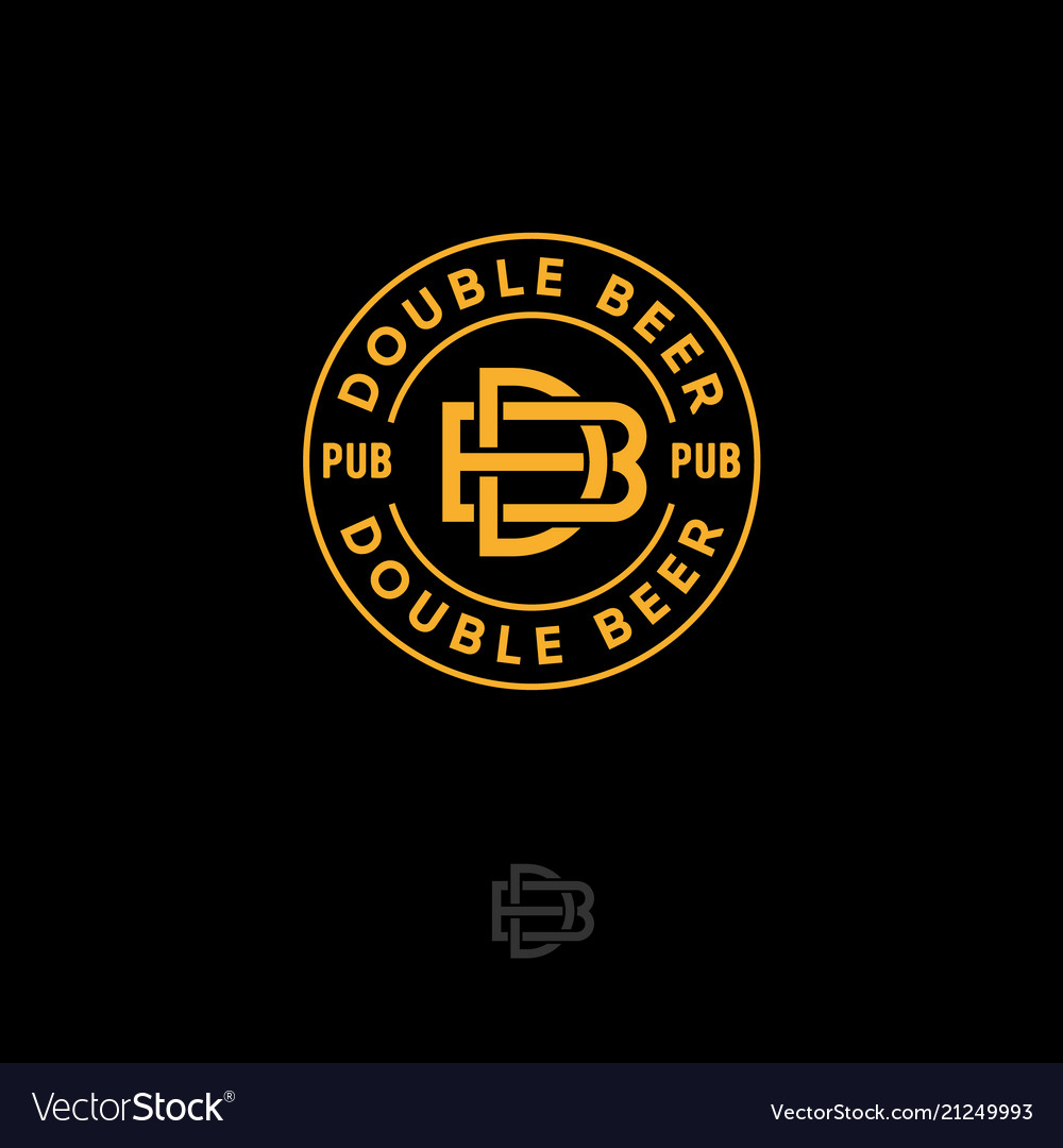 B d letters double beer pub logo brewery emblem
