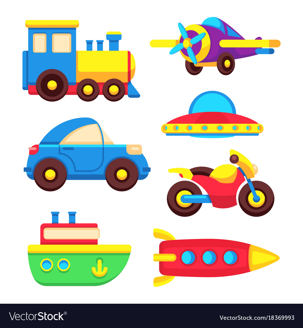 Colorful baby toy transport set