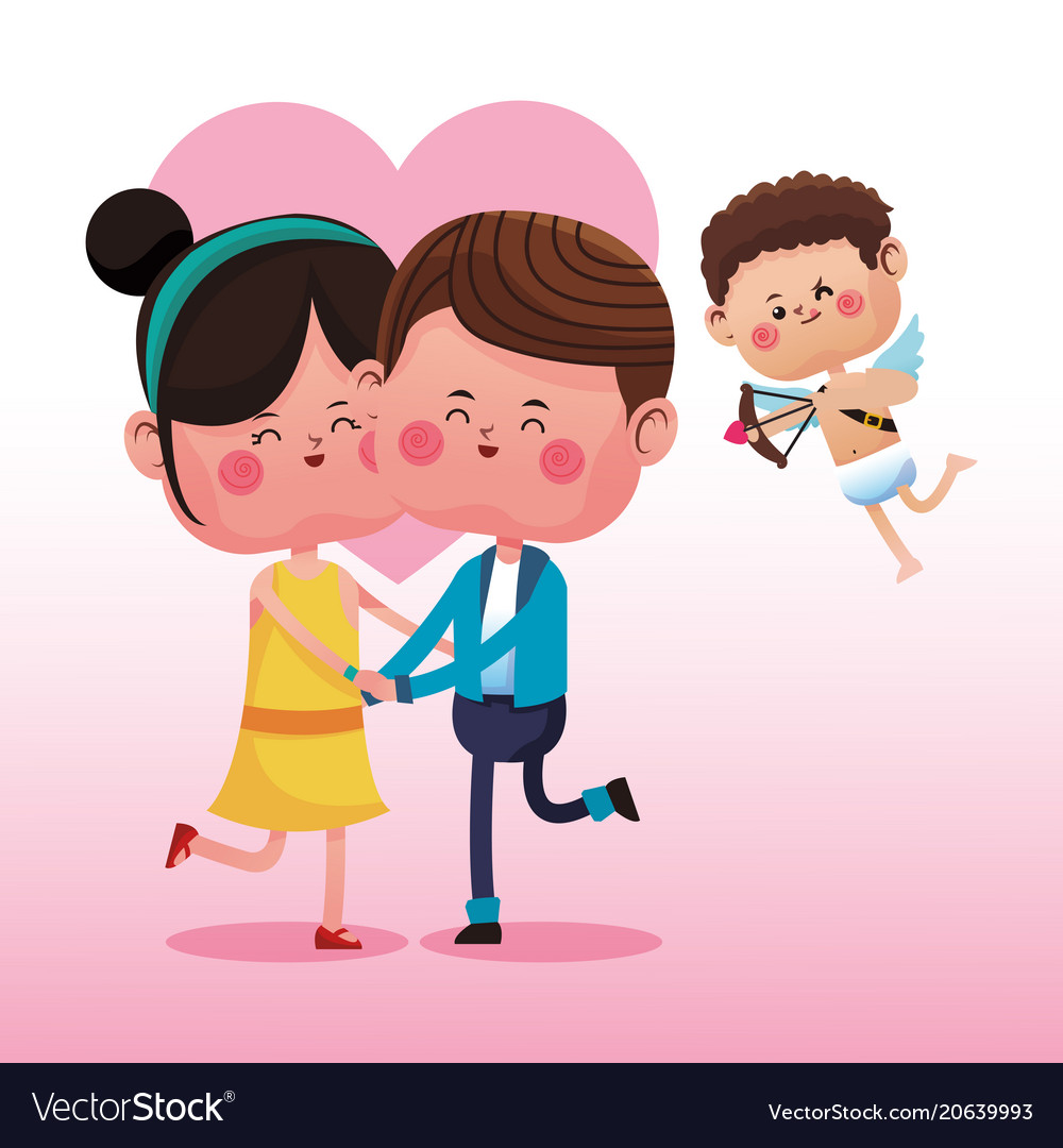 Cute Couple Cartoon With Cupid Royalty Free Vector Image
