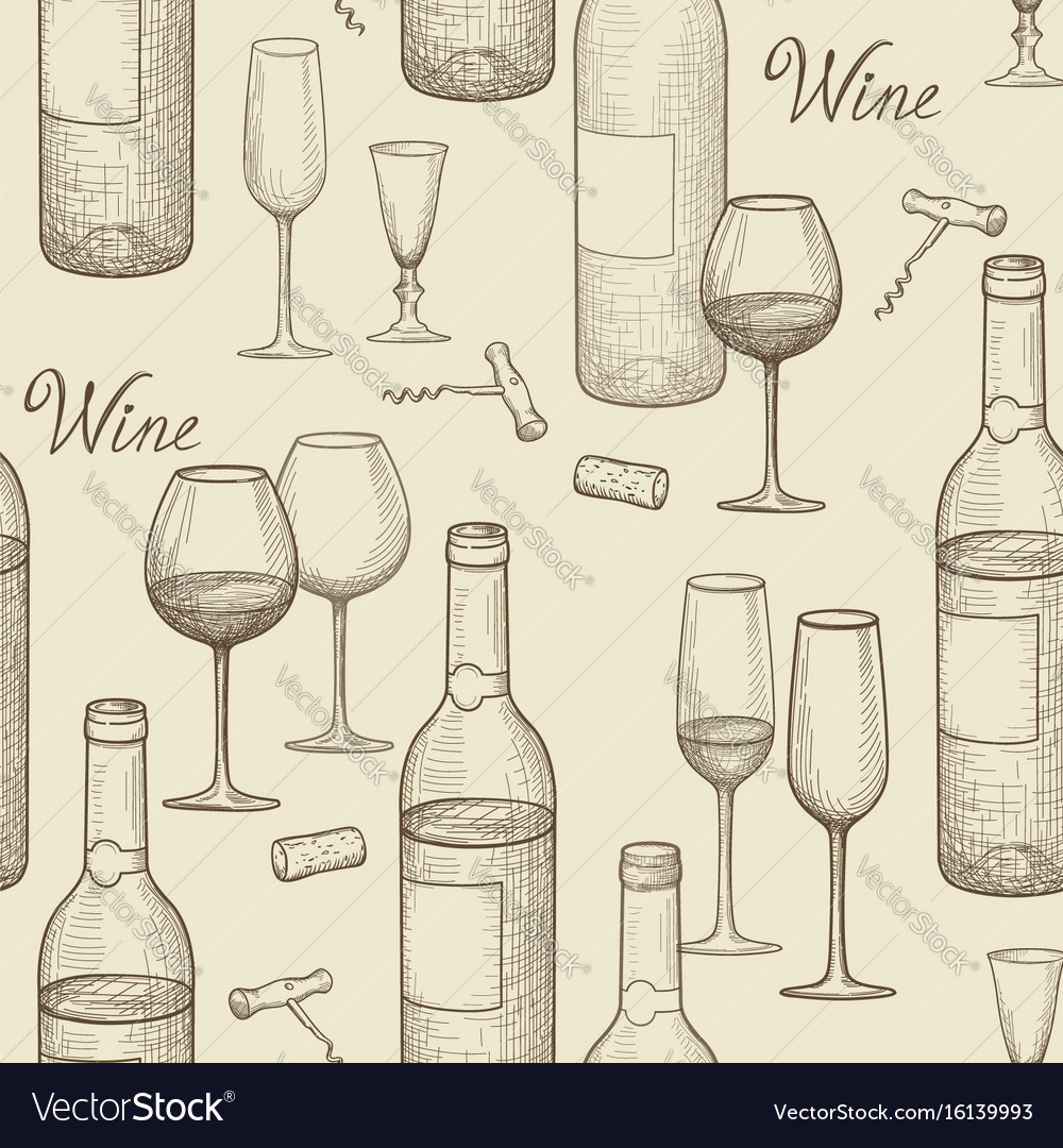Drink wine seamless doodle pattern wine card bar vector image