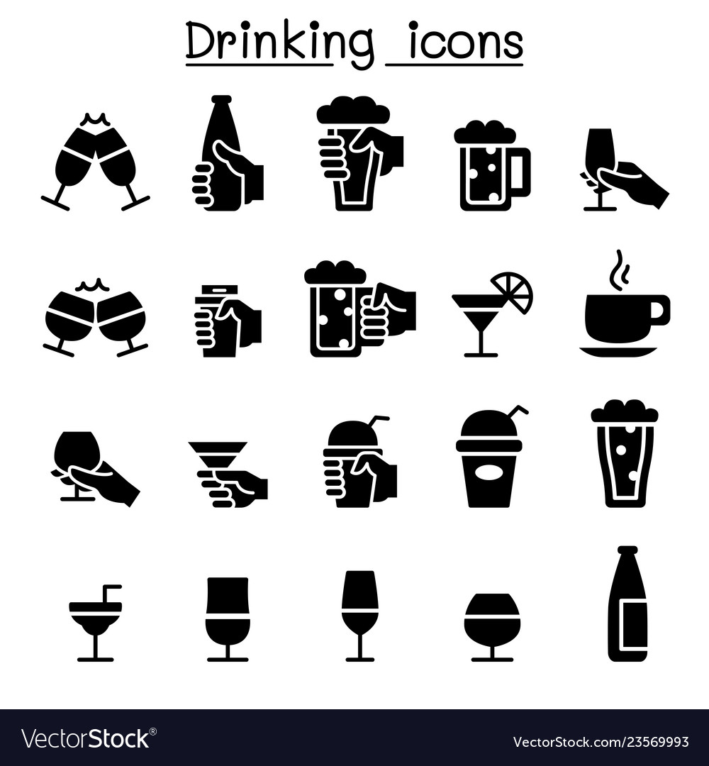 Drinking glass in the hand icon set