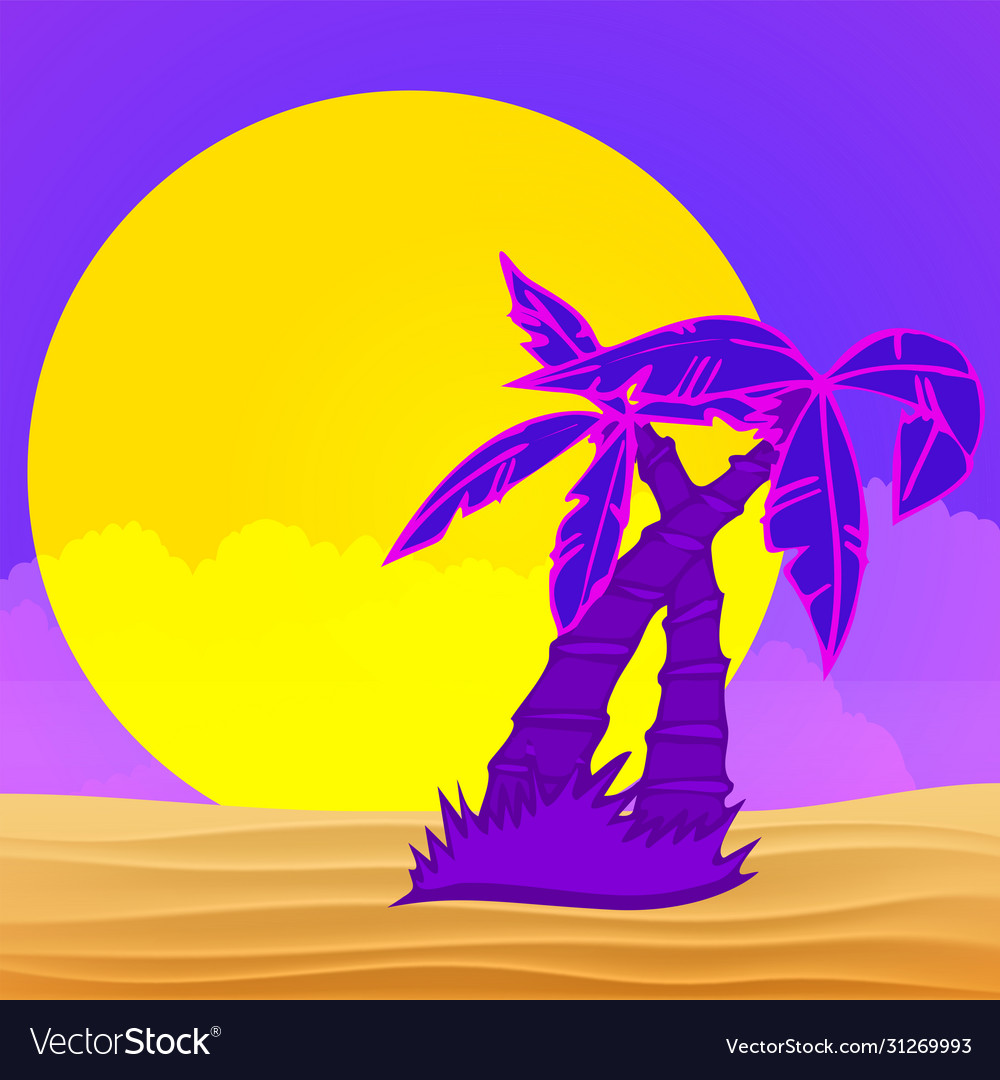 Evening on beach with palm trees colorful