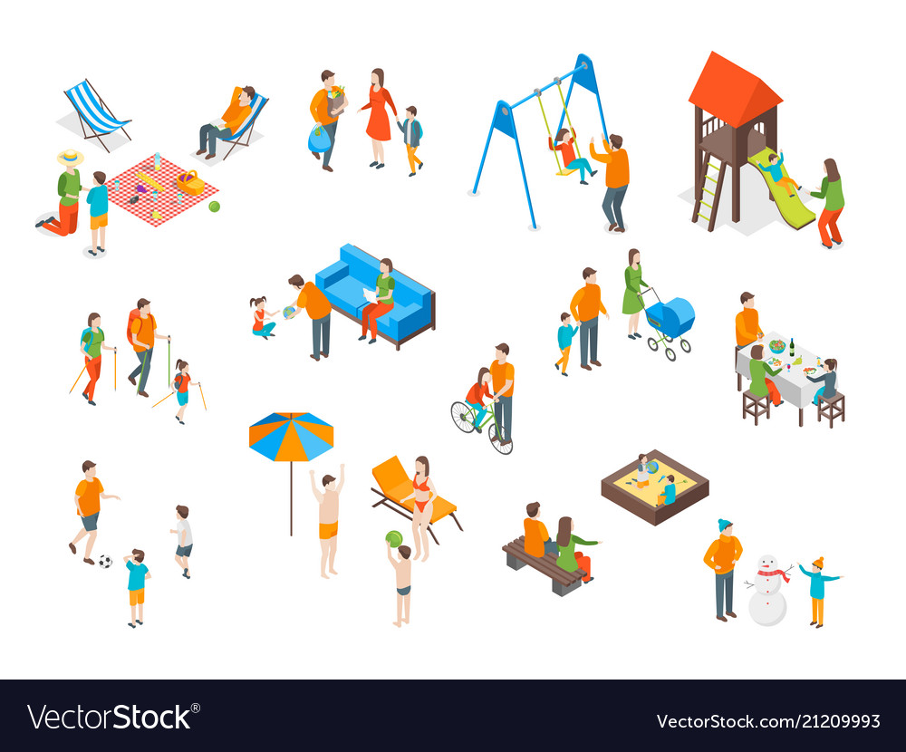 Families spending free time 3d icons set isometric