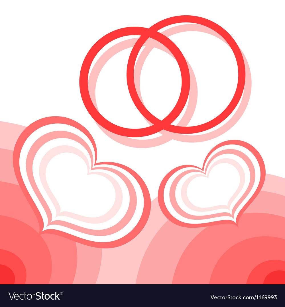 Hearts and wedding rings vector image