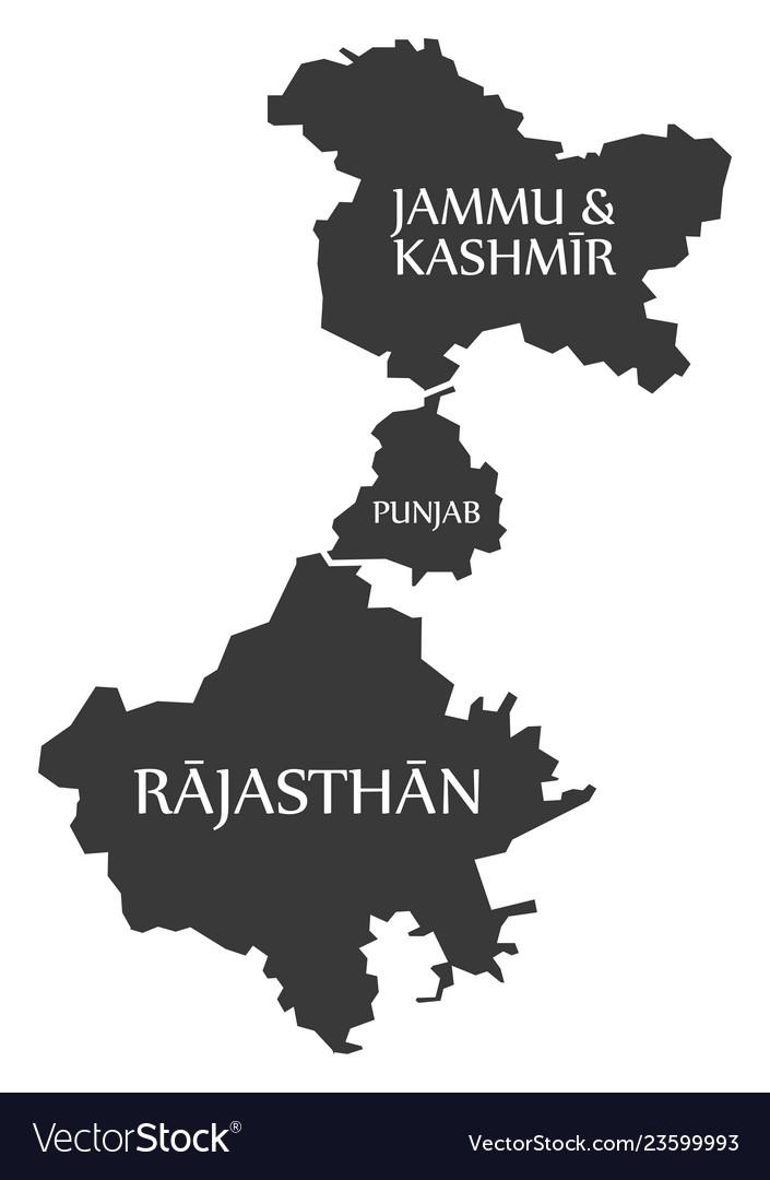 Jammu and kashmir - punjab - rajasthan map of