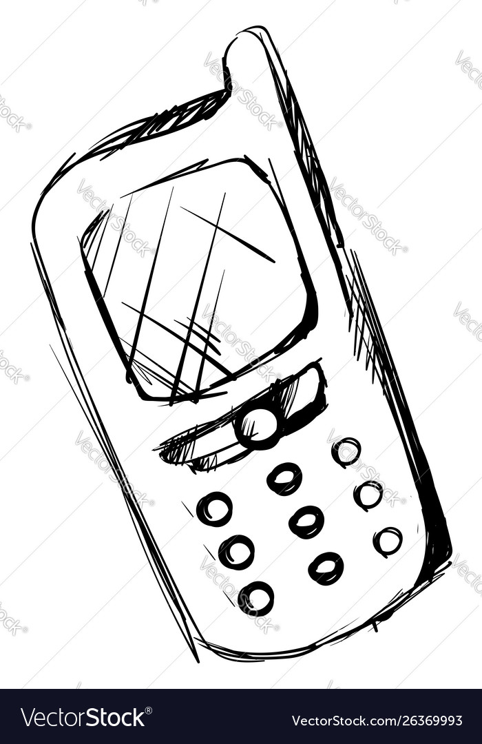 Mobile phone drawing on white background