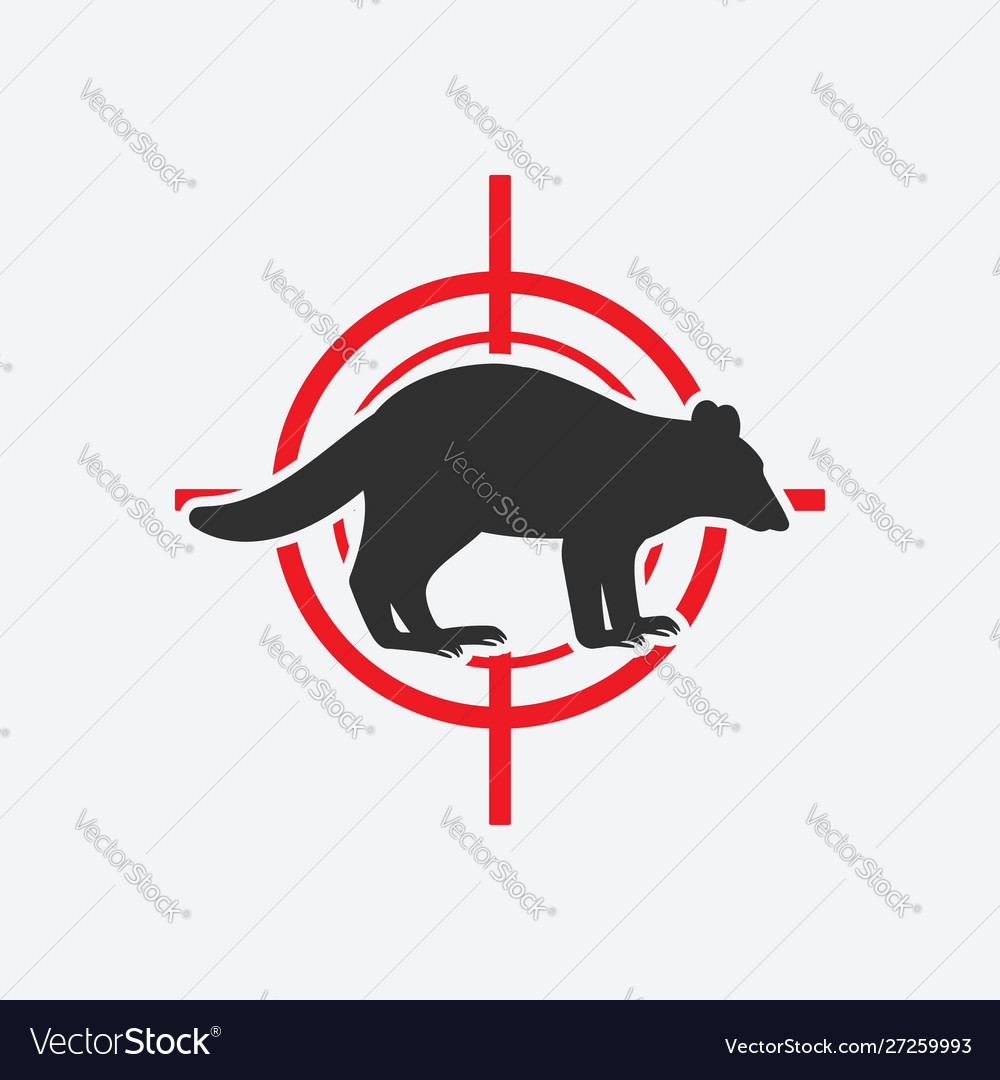 Raccoon silhouette animal pest icon red target