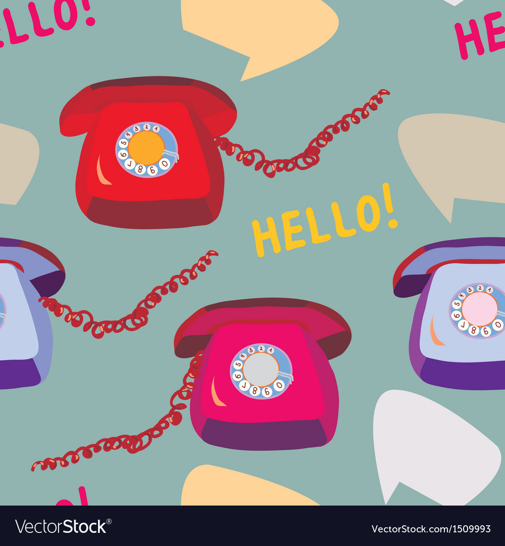 Retro phone seamless funny pattern