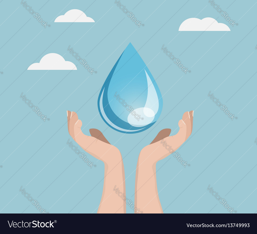 Save water concept human hand with water drop vector image