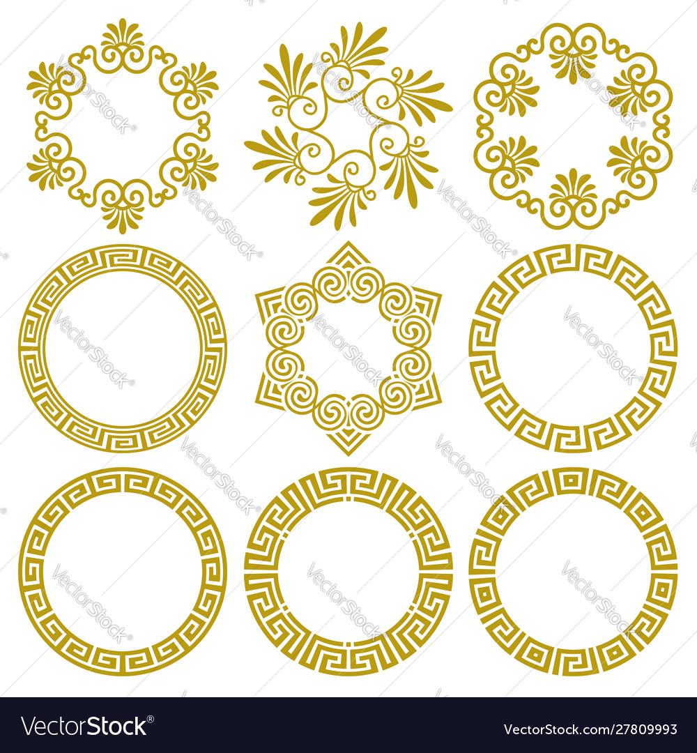 Set round frames in greek style