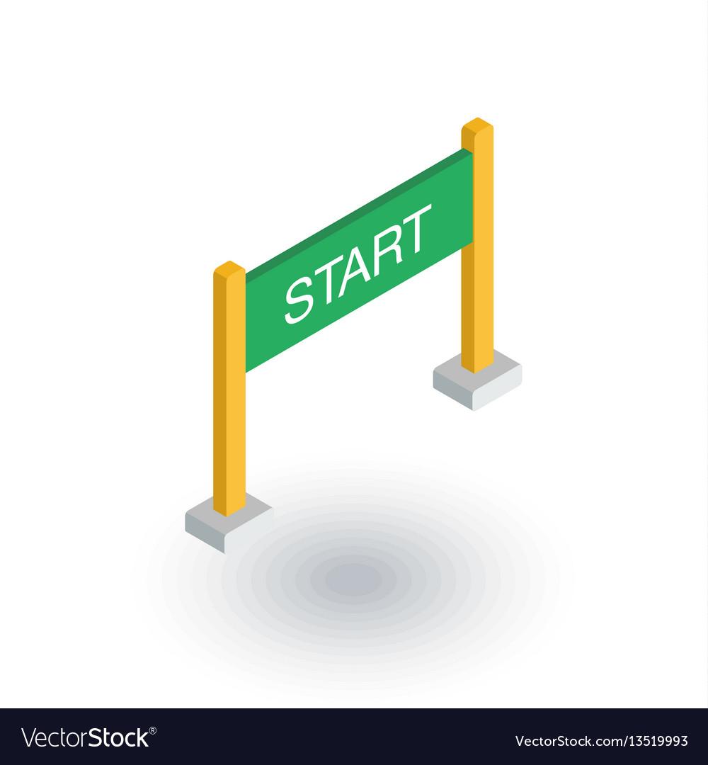 Start banner isometric flat icon 3d vector image