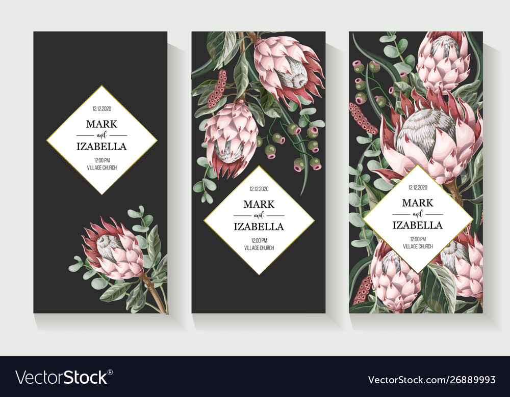 Wedding invitation with leaves protea flowers