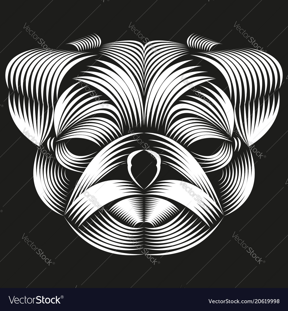 Abstract line art of a pug head