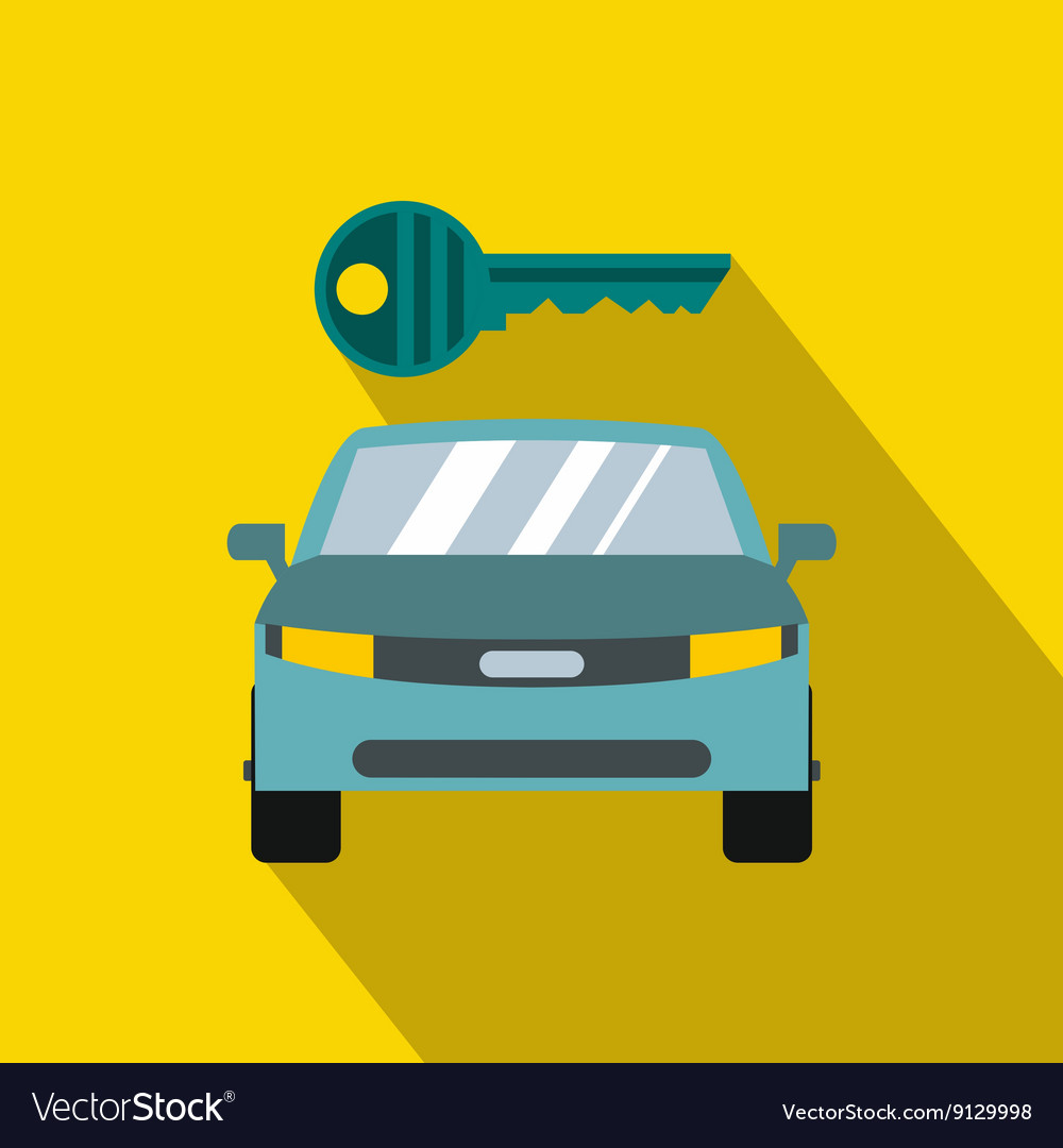 Blue car and key icon in flat style