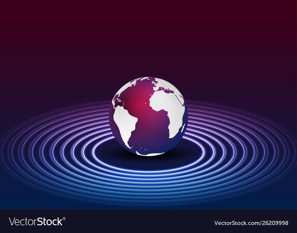 Blue purple globe and neon circles tech background