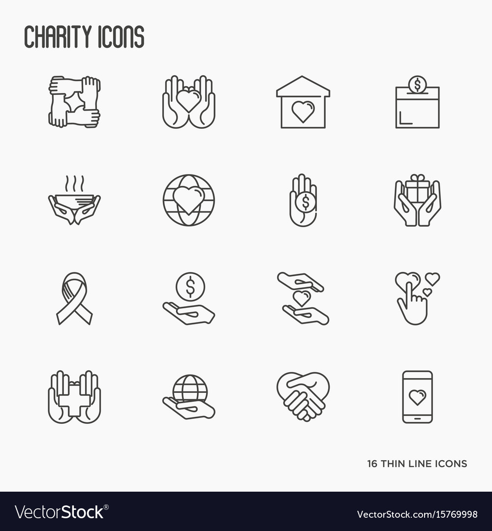 Charity and donation thin line icons set vector image