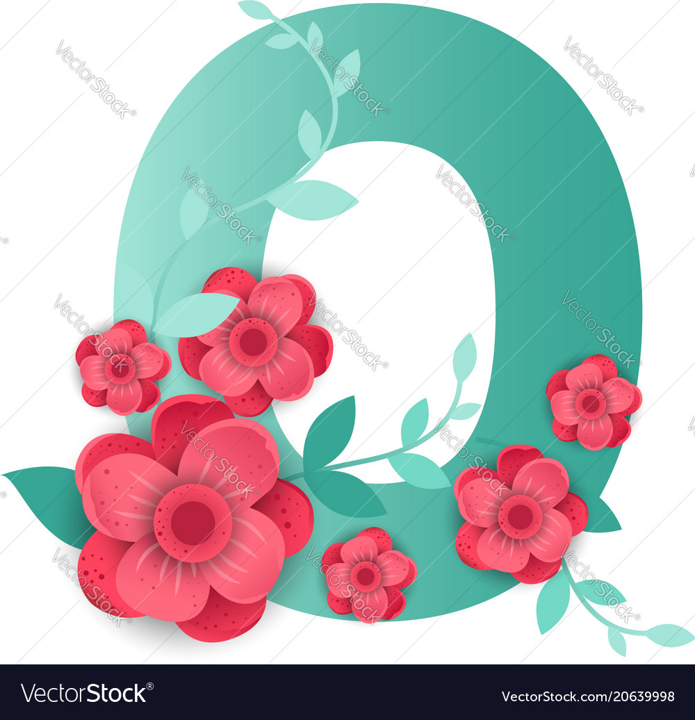 Color number 0 with beautiful flowers Royalty Free Vector