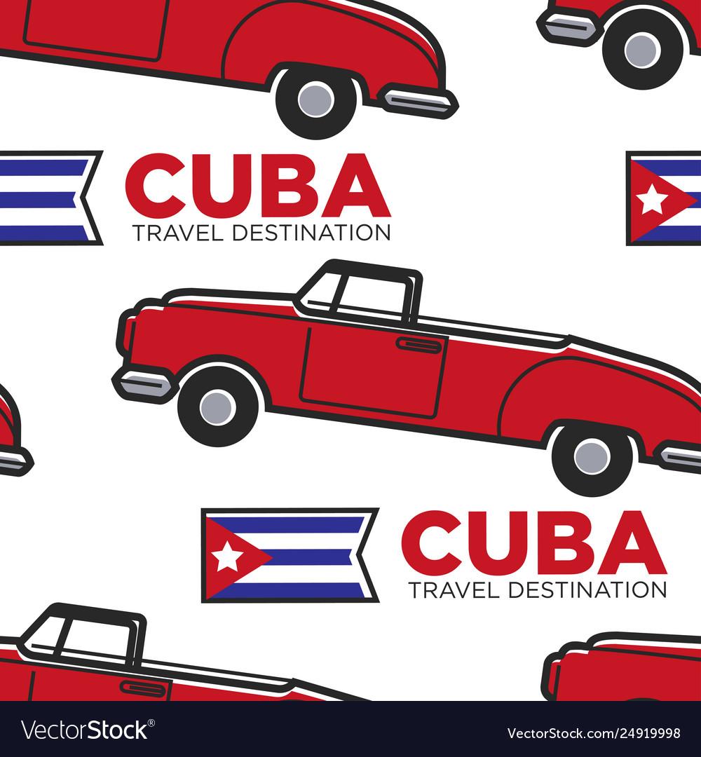 Cuban retro car and flag cabriolet seamless