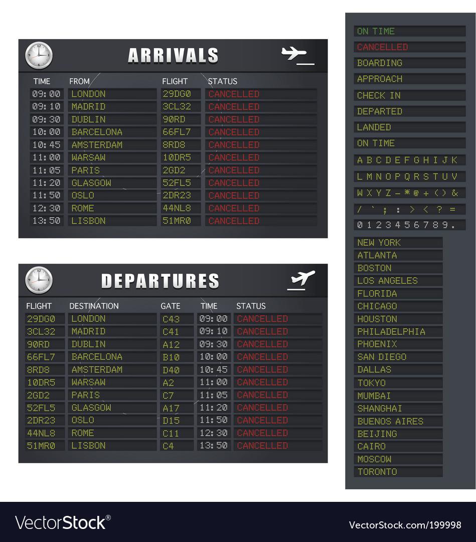 Flight information's vector image