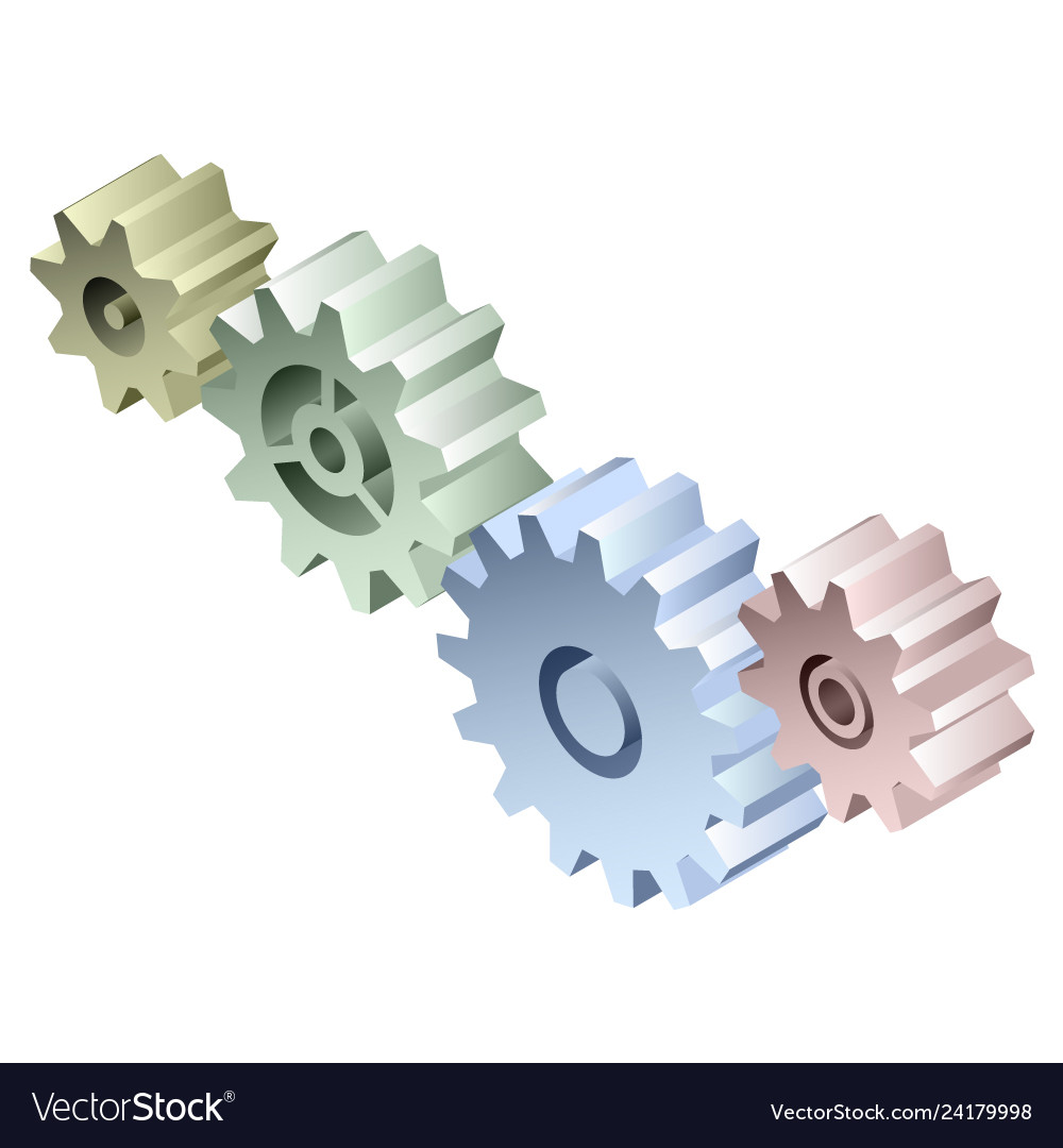 Group of connected isometric 3d gears