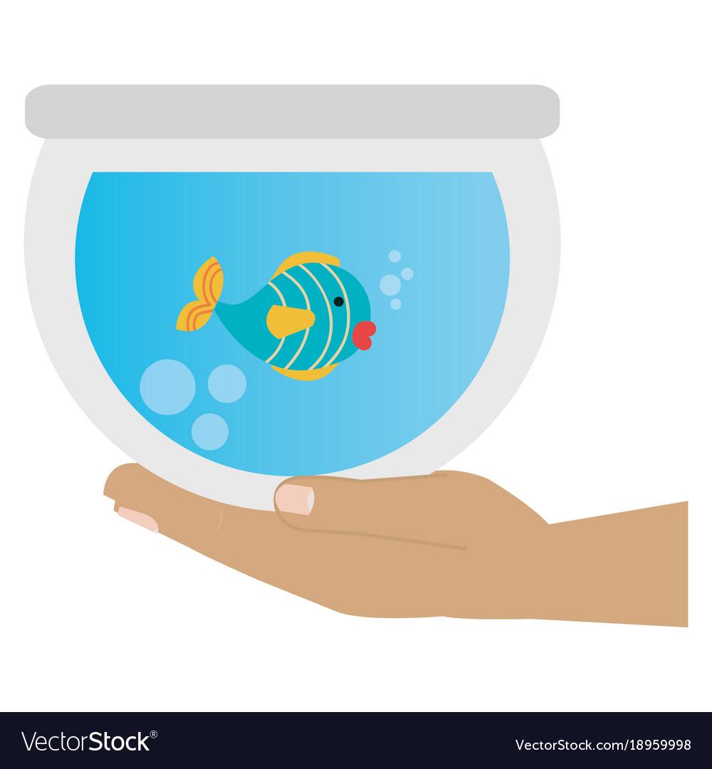 Hand with fish in aquarium