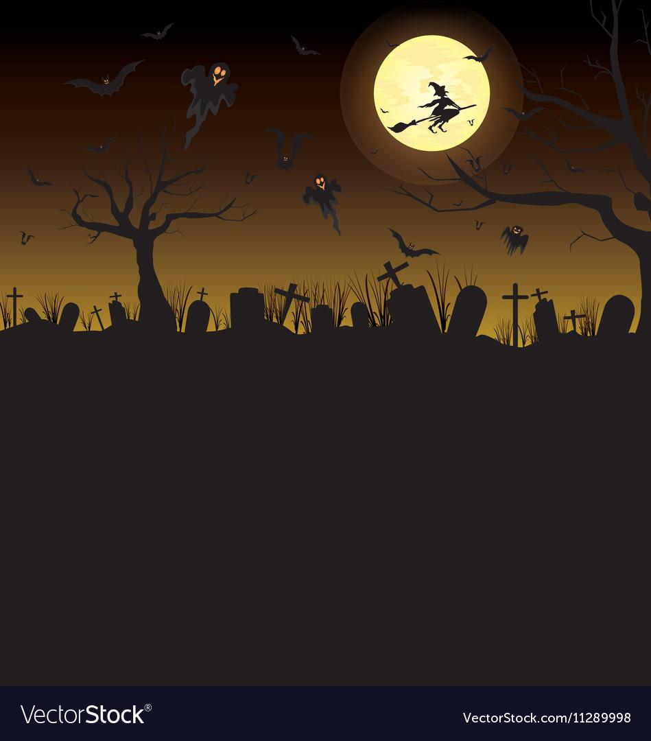 Happy Halloween Pumpkin in moon night on black sky