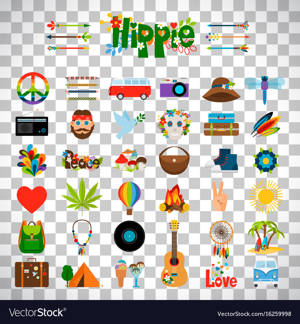 Hippie flat icons on transparent background vector image