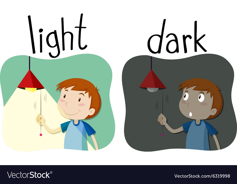 Opposite adjectives light and dark Royalty Free Vector Image