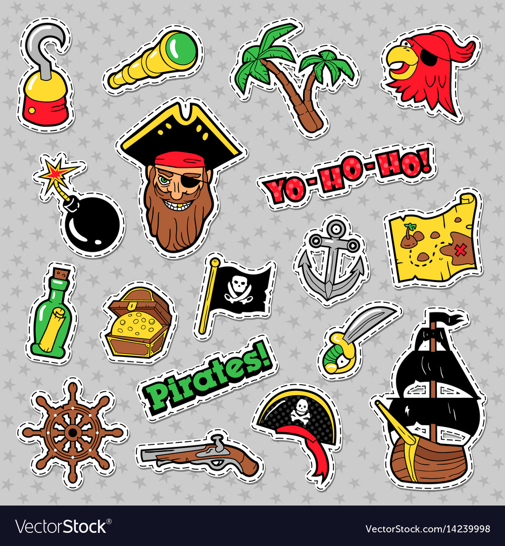 Pirates badges patches and stickers with ship