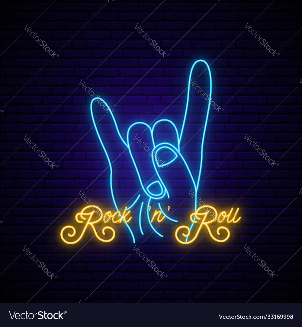 Rock music neon sign bright and roll emblem