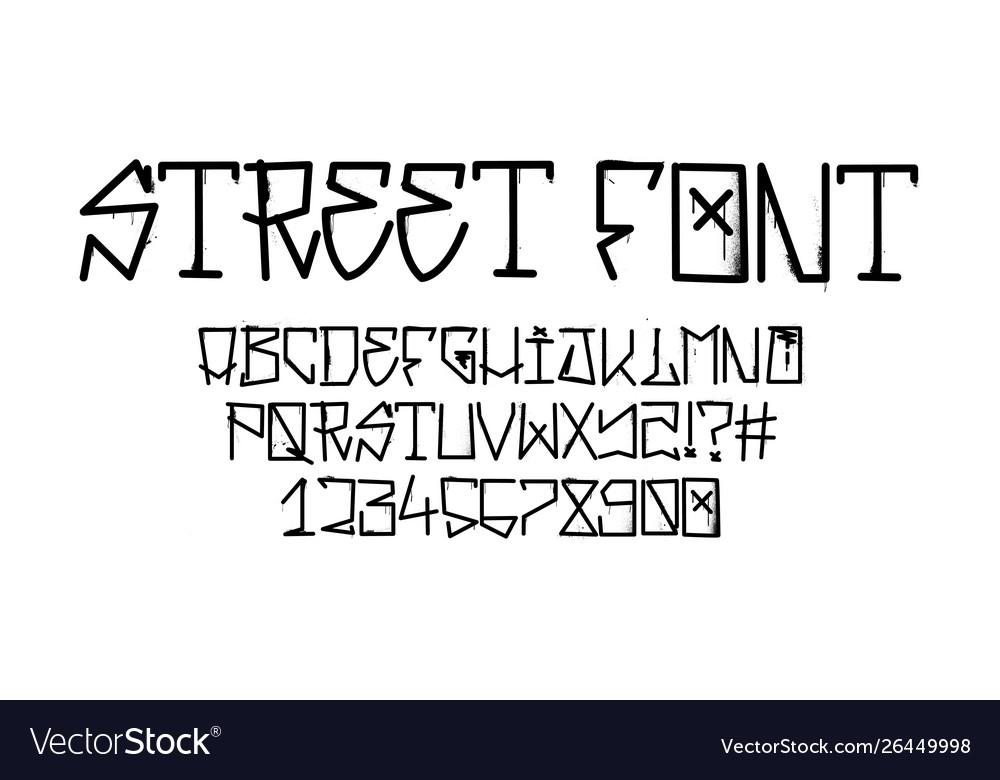 Tag graffiti font street tag alphabet Royalty Free Vector