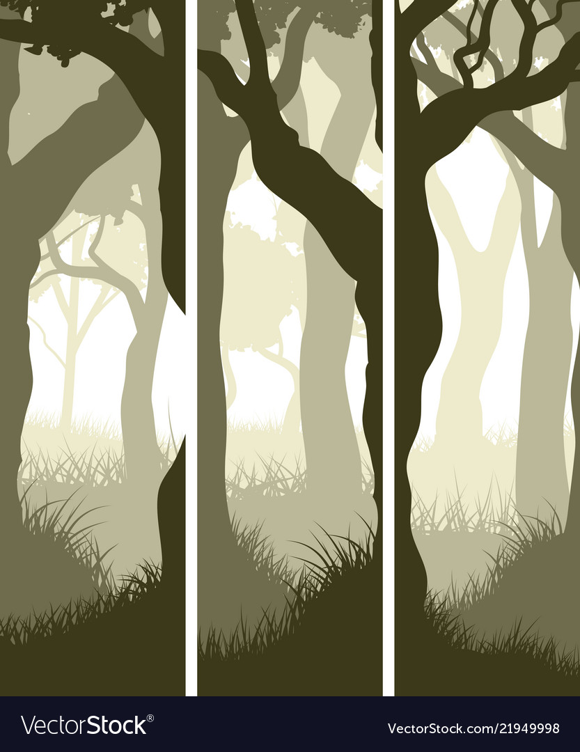 Vertical banners of tree trunks with grass
