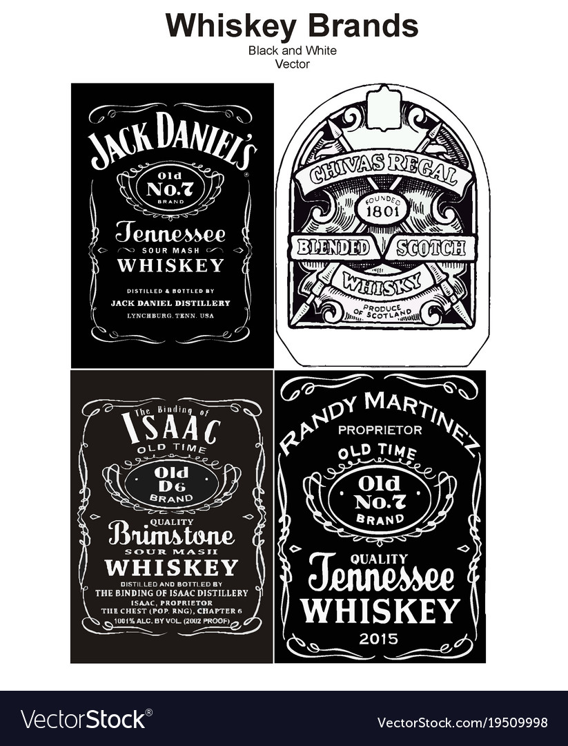 Vintage alcohol whiskey brand black and white