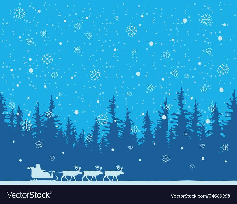 Winter snowy landscape with santa and reindeers