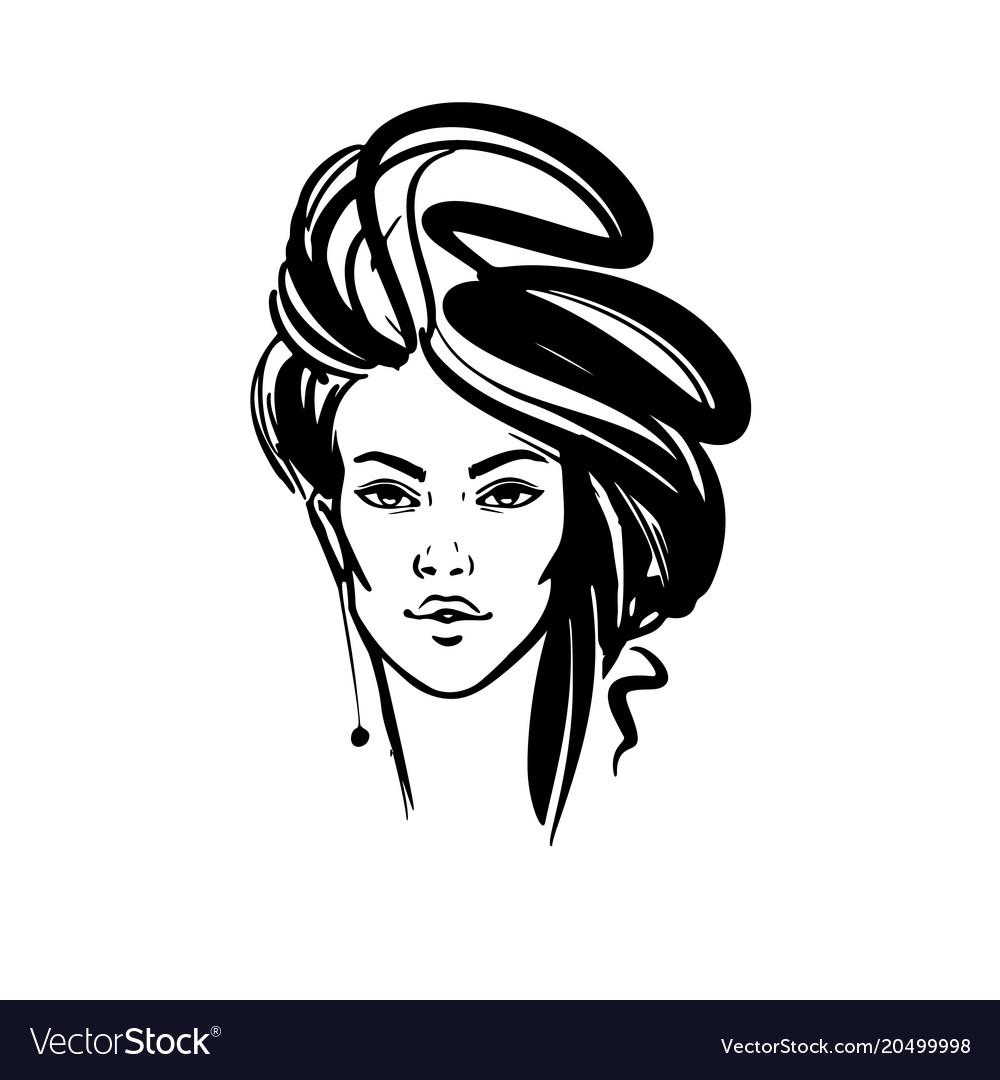 Women Long Hair Style Icon Logo Women On White Vector Image