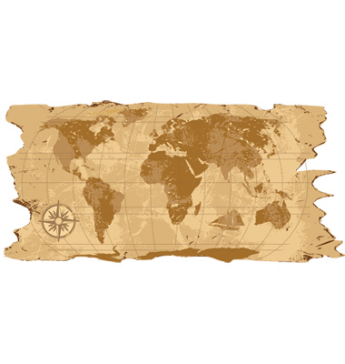 Grunge Rustic World Map Vector. Artist: belarusochka; File type: Vector EPS