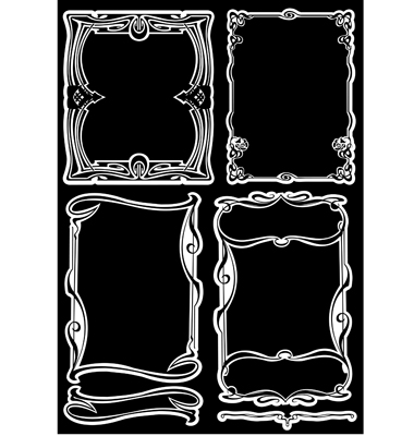 Art Deco Patterns Vector. Four Black And White Art Deco