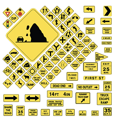 Warning Road Signs. Usa Warning Road Signs Vector