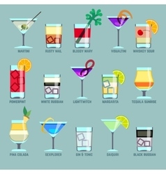 Alcohol drinks and cocktails flat icons vector