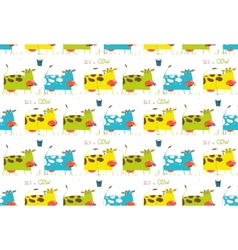 Brightly Colored Fun Cow and Milk Seamless Pattern vector image