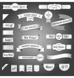 Discount retro ribbon paper set vector image