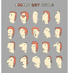 Face Boy Set of 20 different avatar men characters vector image vector image