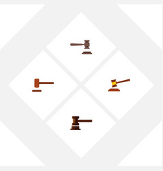 flat icon lawyer set of defense hammer vector image vector image