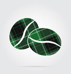 green black tartan icon - two coffee beans vector image vector image